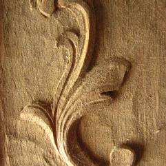 The acanthus leaf is a very common element in older architecture and on furniture. You will see them on a U.S. Dollar and engraved onto high-end hunting guns and some leather work. This was part of a group of studies done in mahogany.