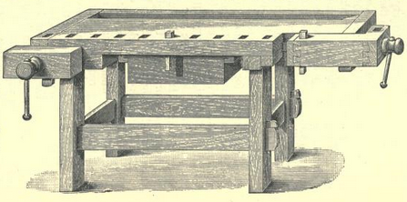 an engraving of a Continental style woodworking bench