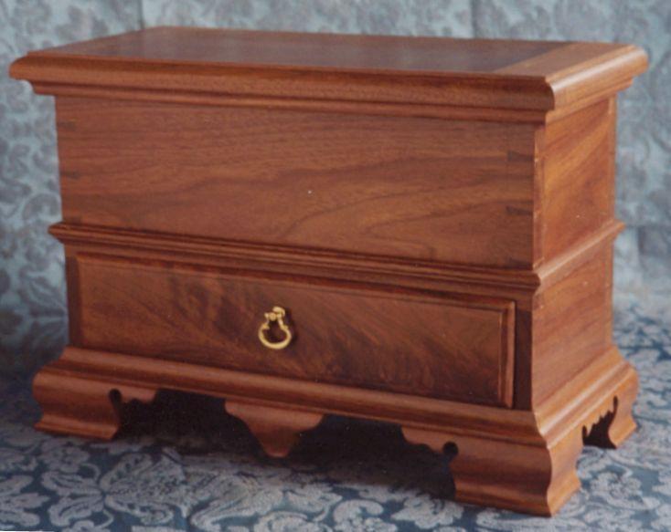 Walnut Box with drawer on bracket feet