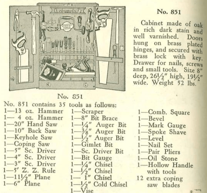 illustration of Stanley tool cabinet and woodworking tools