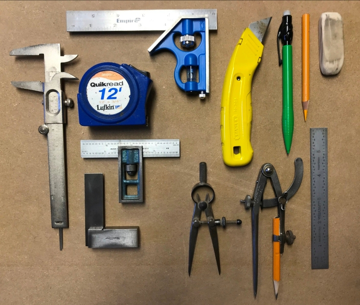 tool selection to begin measuring and marking for woodworking