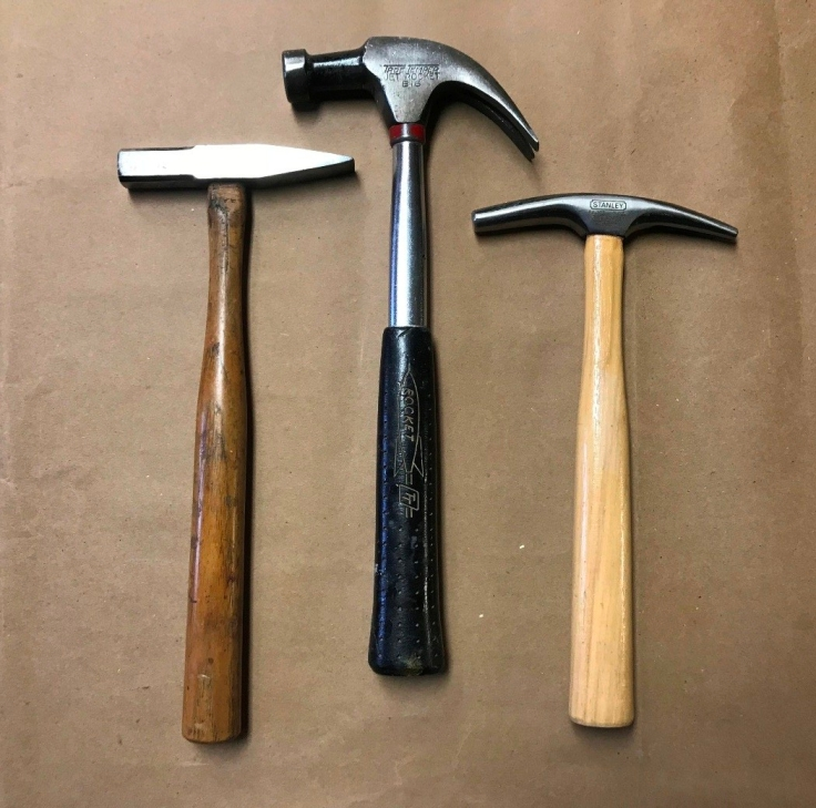 collection of 3 hammers Stanley riveting, Tru Temper 16 ounce claw and Stanley upholsterers hammer