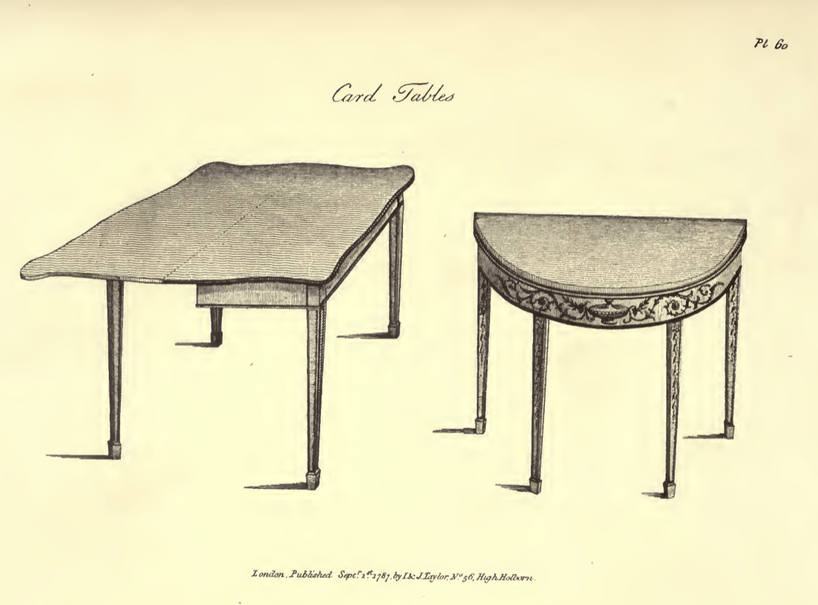 Illustration of two card tables their tops are rectangular and semi-circular