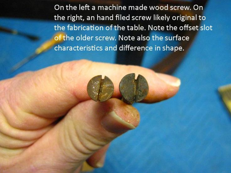 Comparison of screws extracted from table