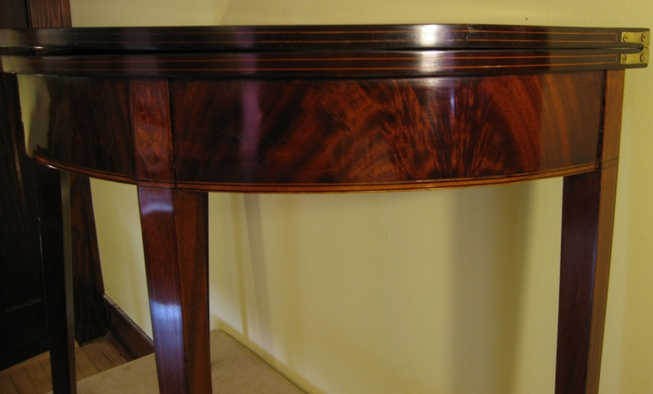 refinished card table apron crotch mahogany