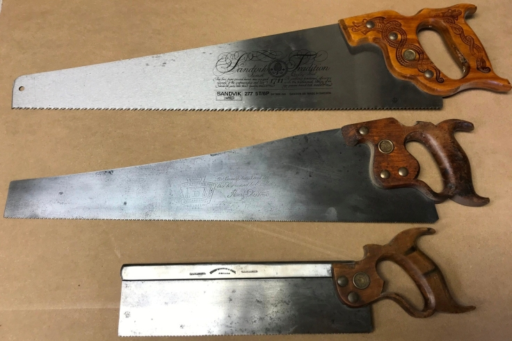 Three saws Sandvik Rip, Disston Crosscut and Disston Tenon or Back saw
