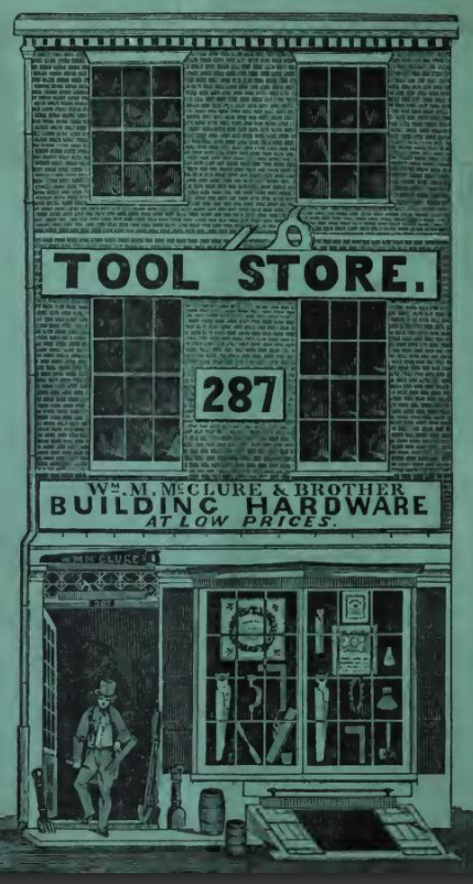Old illustration of the facade of a tool store