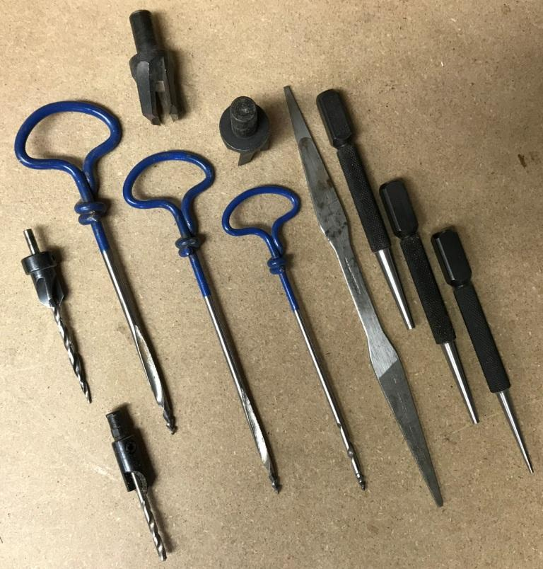 Gimlets, nail sets plug cutters and countersinks