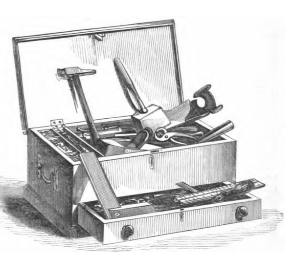 A black and white illustration of a tool chest full of various tools
