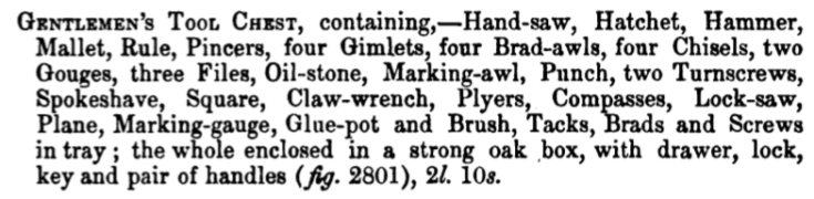 A catalog description of the contents of a tool chest