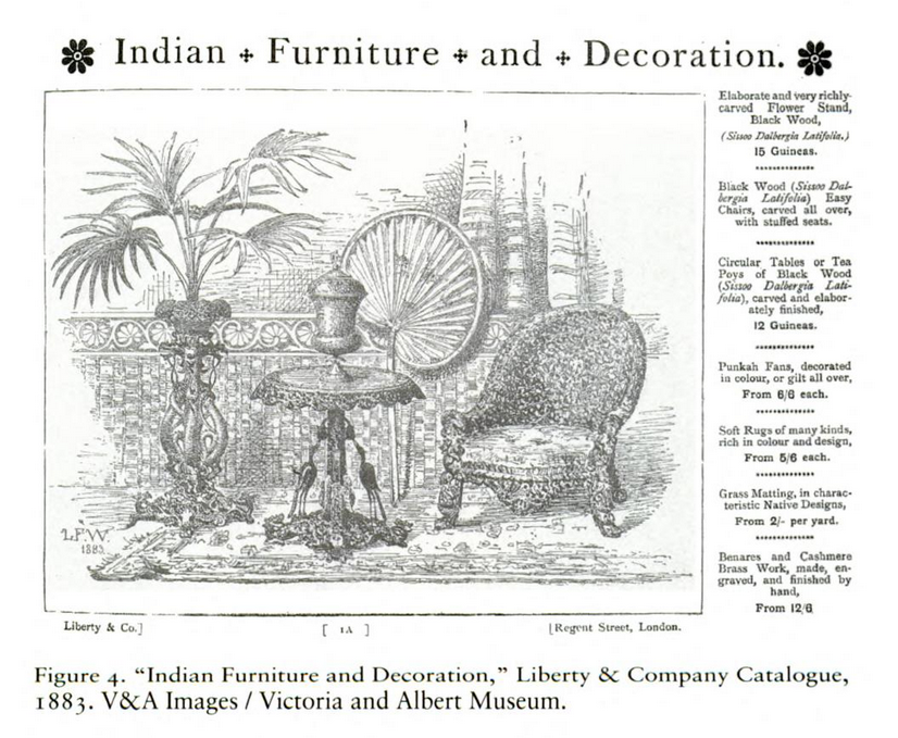 An illustration of a print advertisement of Liberty & Co of Regent Street, London for their Indian Furniture and Decoration imports